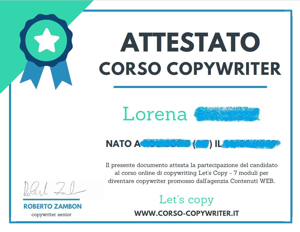 Attestato Lorena Carella